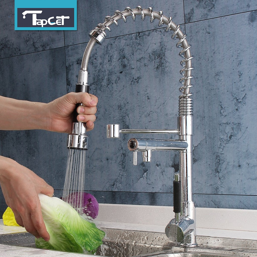 kitchen sink mixer faucet pull out spring single handle chrome brass spray tap