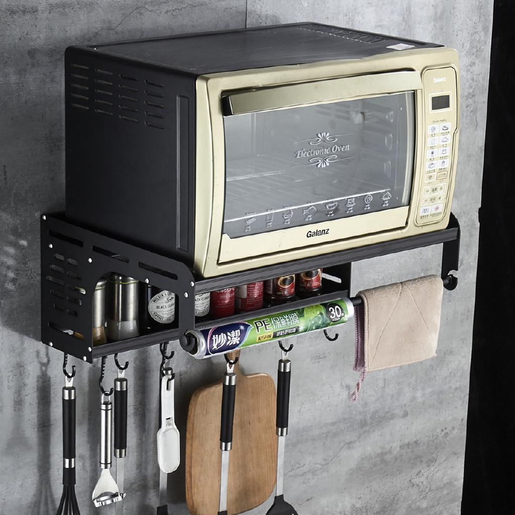 space aluminum microwave oven rack kitchen organizer storage holder oven bracket wall mounted shelf bracket oven rack thickened