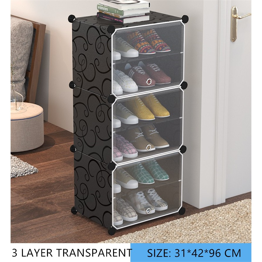transparent shoe rack organizer cabinet 3 layer dust proof drawer type screwless stackable big size