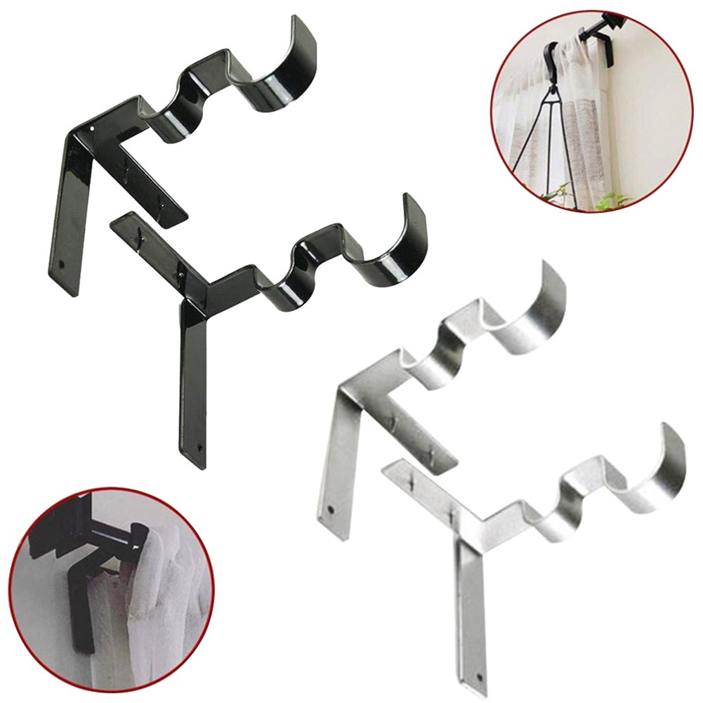 2pcs set stainless steel double curtain rod holder wall bracket fixing rack d17