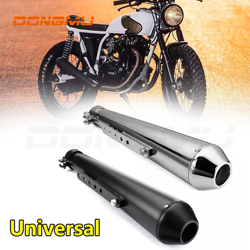 exhaust muffler tailpipe tail pipe tip motorcycle cafe racer exhaust pipe with sliding bracket matte black silver universal
