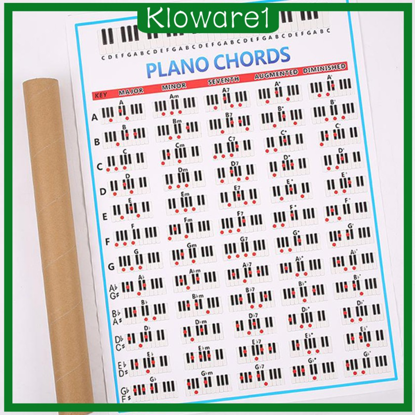 kloware1 piano chord chart with scales music theory poster piano learning practise aid