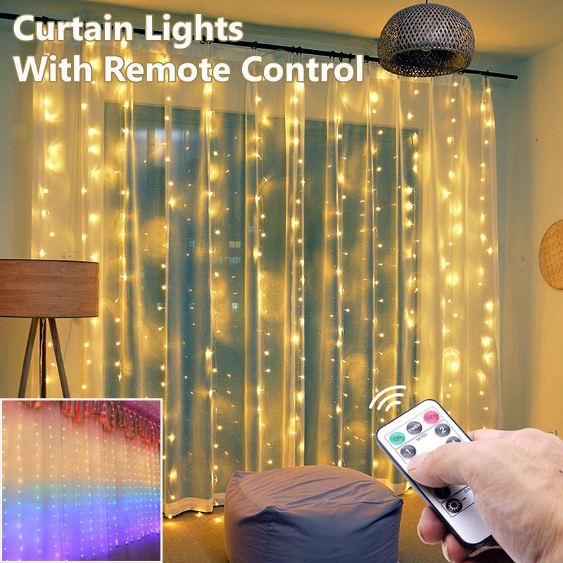 rainbow curtain lights with remote control 100 210 led fairy lights string lights wall decorations