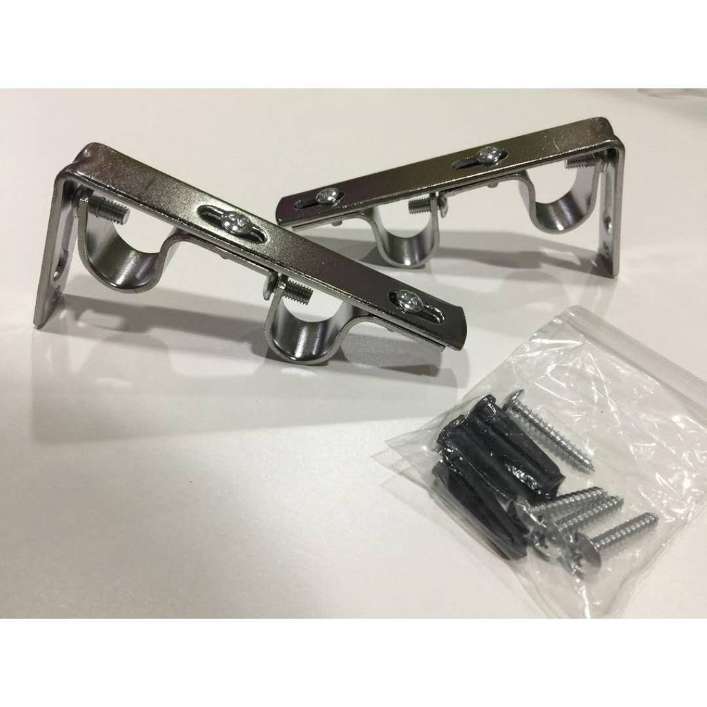 set of 2 double curtain rod bracket for 3 4 or 5 8