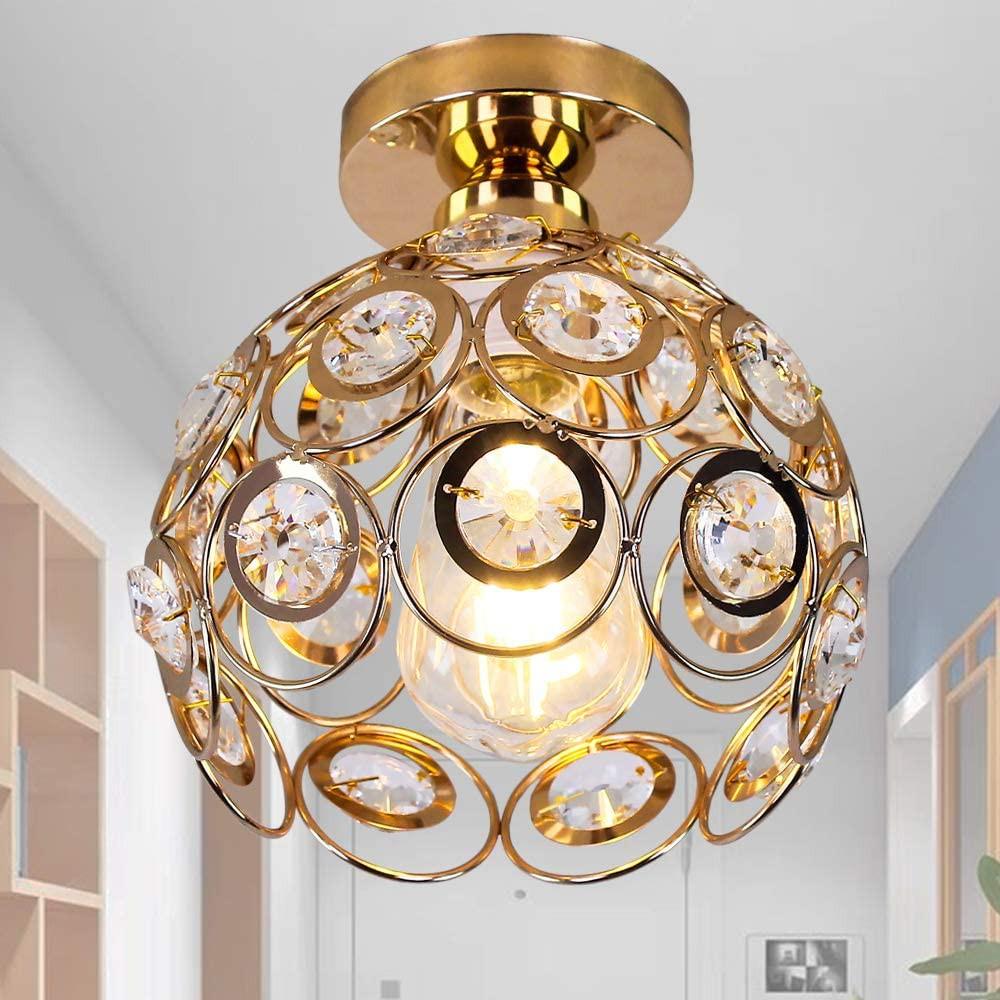 hallway ceiling light mini crystal chandelier semi flush mount ceiling light close to ceiling lighting bedroom kitchen living room modern pendant