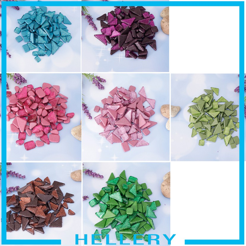 hellery 200g colored glitter crystal glass mosaic tiles pieces diy mosaic art craft