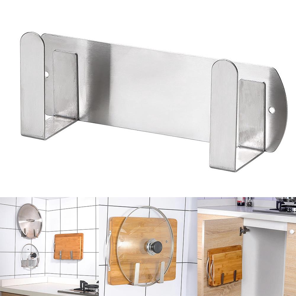 pot lid rack wall mounted 304 stainless steel pan lid organizer holder self adhesive kitchen cooking utensil tool