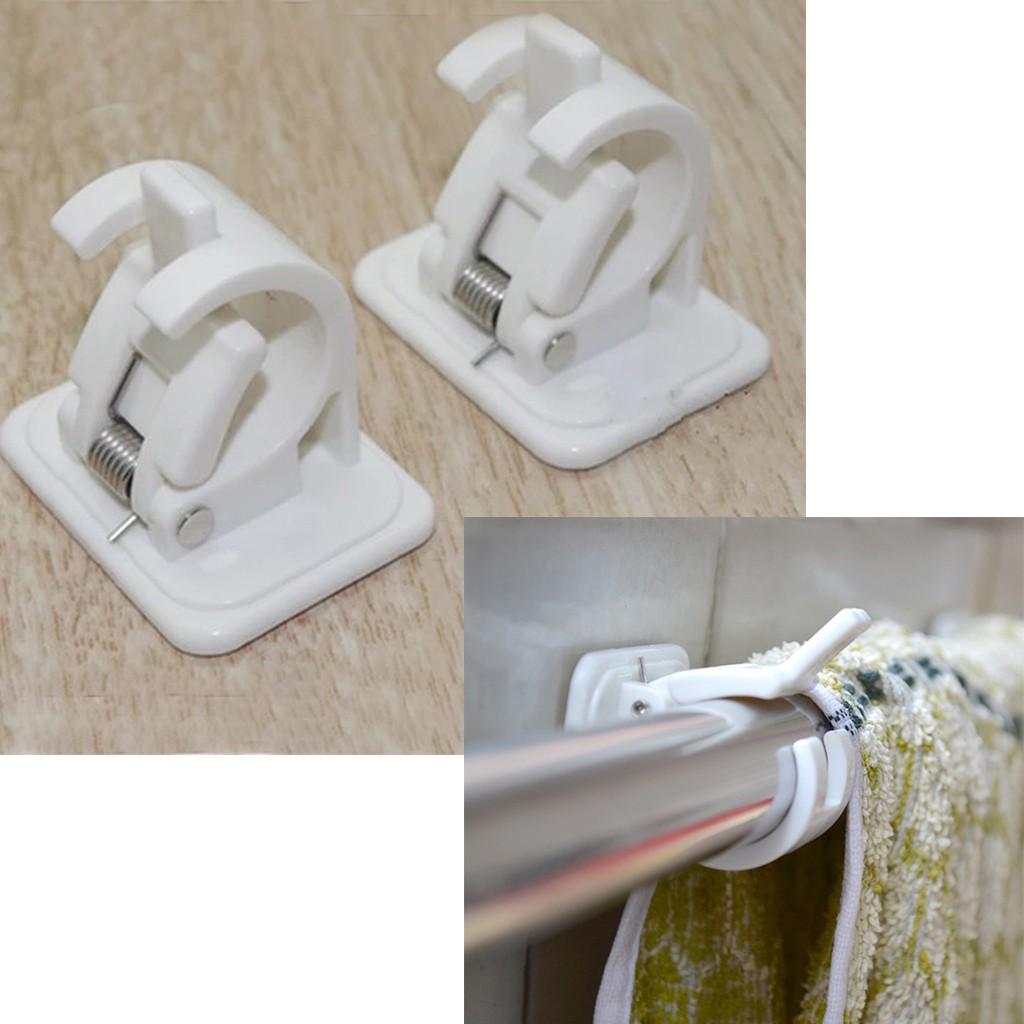 pair self adhesive curtain rod brackets shower curtain pole clamp holder bathroom towel bar hook holder support adjustable rail