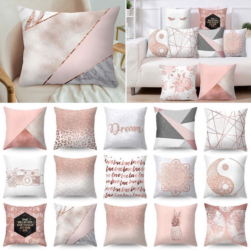 dreamlike pillow case rose gold square cushion cover polyester throw pillow cover