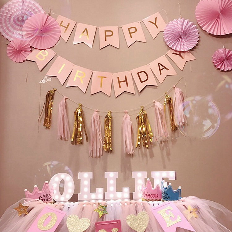 1set Happy Birthday Banner Paper Flags Bunting Banners Diy Kids Birthday Party Decoration Party Needs Shopee Philippines