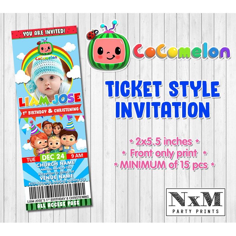 cocomelon ticket style invitation card