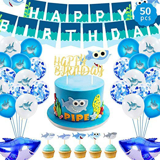 Baby Shark Birthday Party Supplies For Boys And Girls 50 Ocean Shark Theme Party Decorations Shopee Philippines