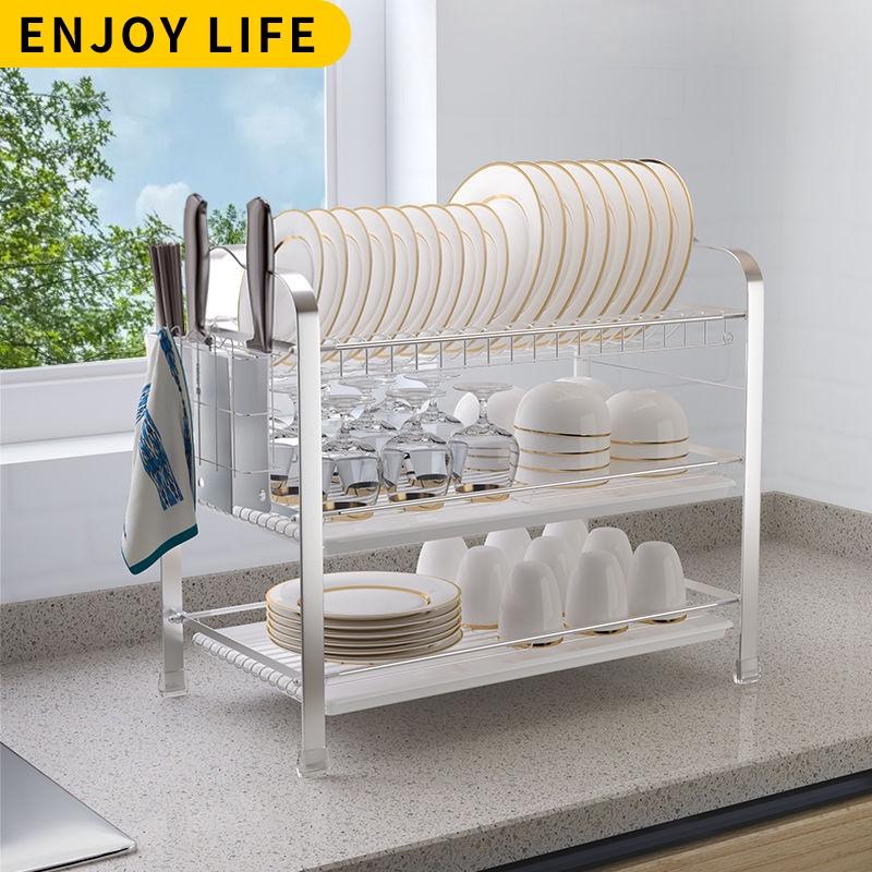 ready stock stainless steel dish rack kitchen organizer plate organizer dish drainer rack kitchen rack plate rack