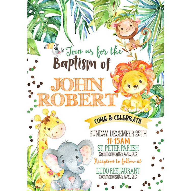 safari wild animals theme printed christening invitation