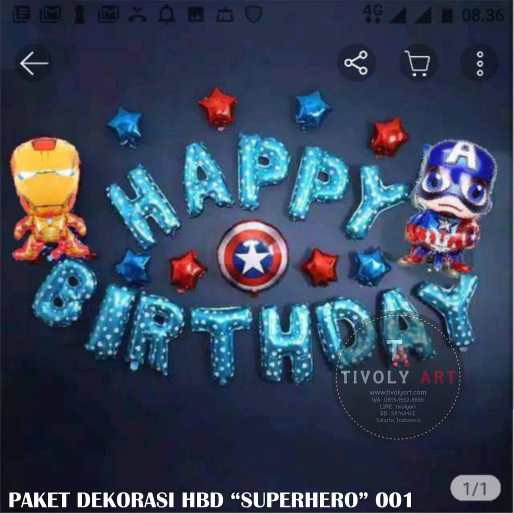 Superhero Theme Happy Birthday Decoration Package 001 Captain America Shopee Philippines