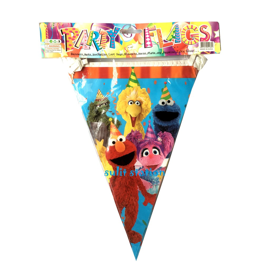 sesame street elmo birthday party triangle flag banners banderitas decor favors needs supply banner