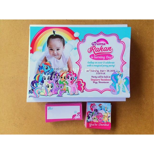 my little pony invitation card birthday christening baptism