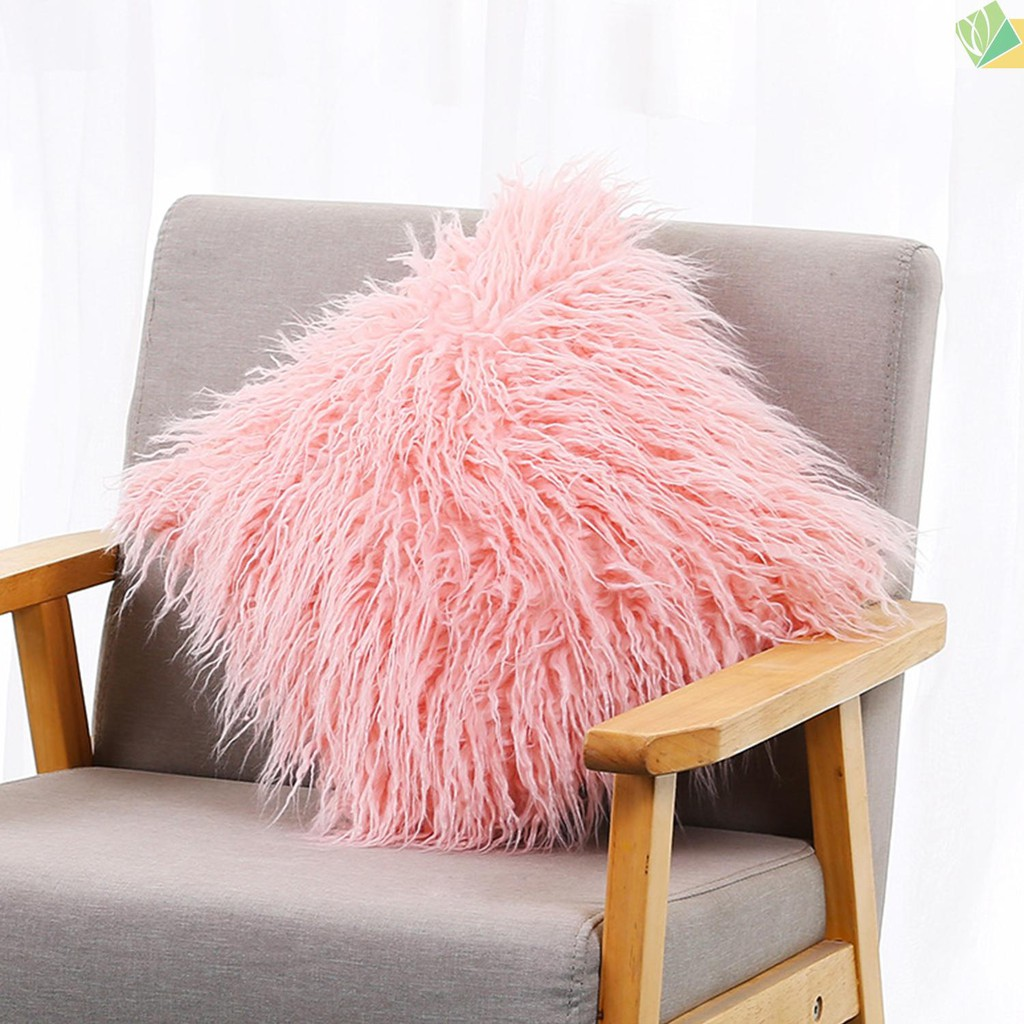 sici faux fur pillow case soft long cushion cover fluffy pillowcase with hidden zipper for home decor bed sofa bedroom car decorative pillowcase 18x18