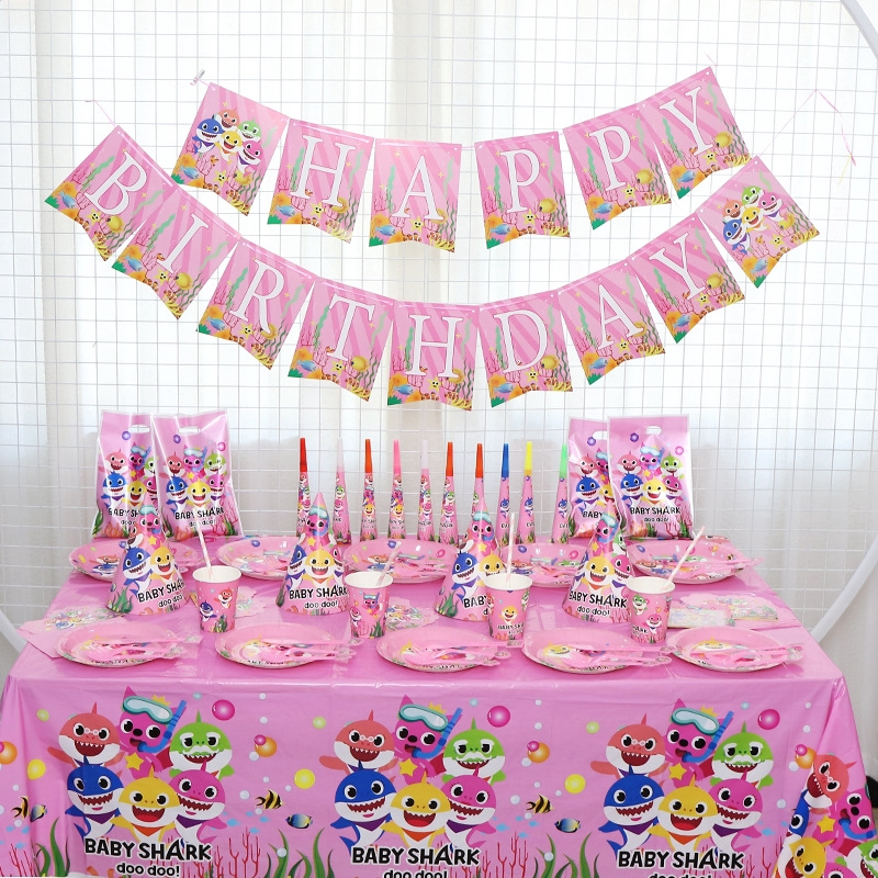 Pink Girl Baby Shark Birthday Party Decoration Paper Cup Plate Tablecloth Flag Hats Blower Gift Party Supplies Shopee Philippines