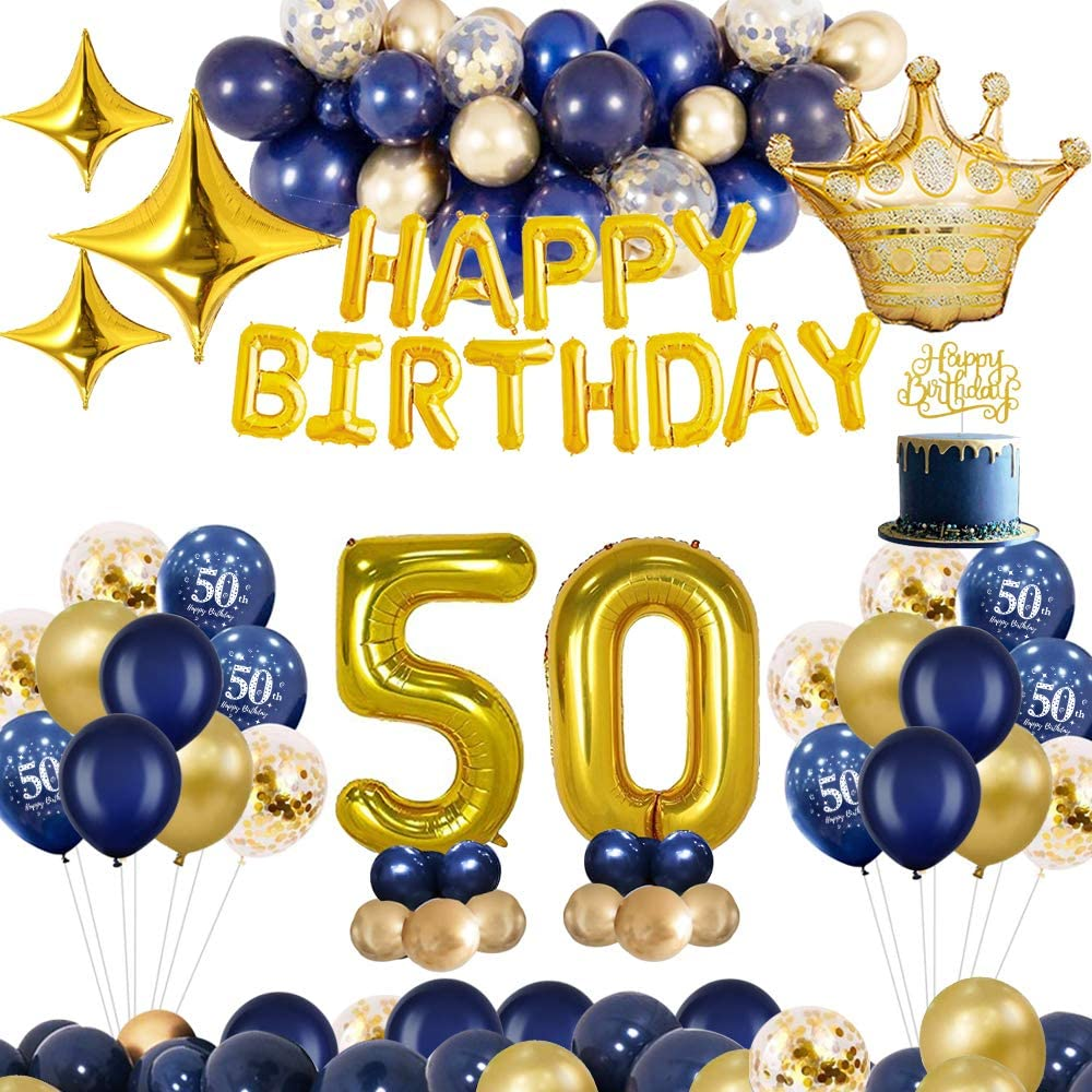 Mmtx 50th Birthday Decorations Blue Gold Party Decoration Cake Topper Happy Birthday Banner Foil Balloons For Men Women Anniversary Shopee Philippines