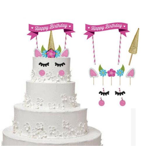 Glitter Unicorn Horn Happy Birthday Cake Topper Banner Decoration Kids Party Diy Shopee Philippines