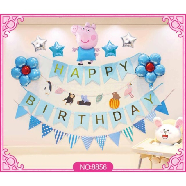 Partyparty Pig Happy Birthday Banner Set Shopee Philippines