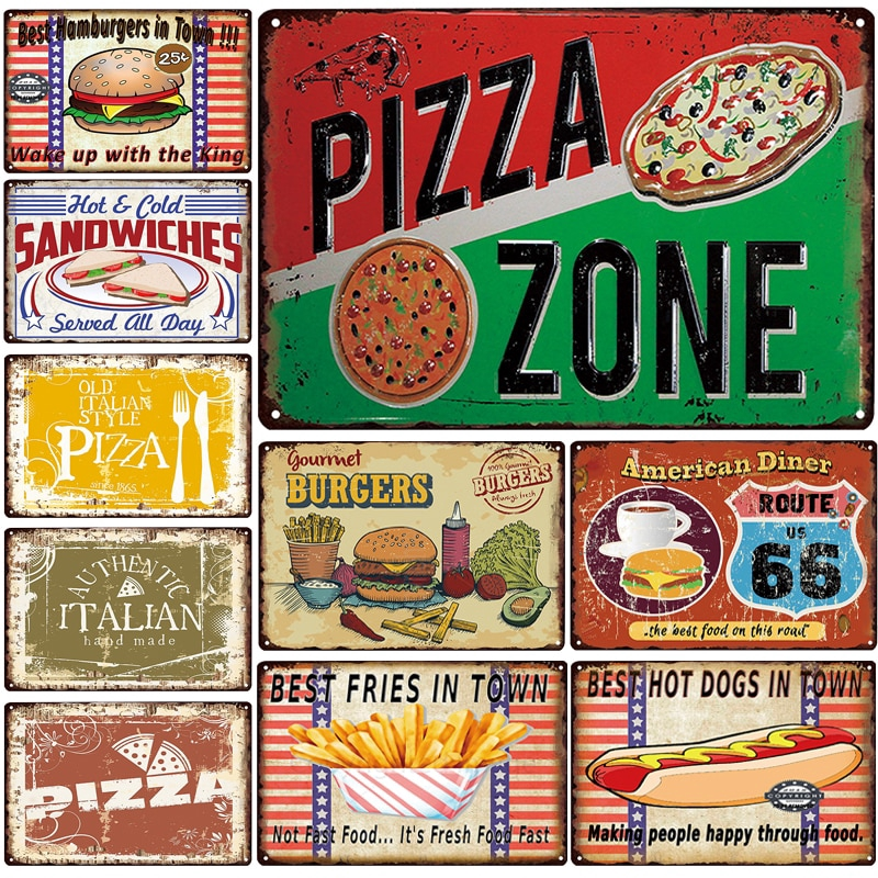 pizza zone plaque metal vintage burgers metal sign hot dog tin sign decoration metal poster home bar pub vintage wall posters