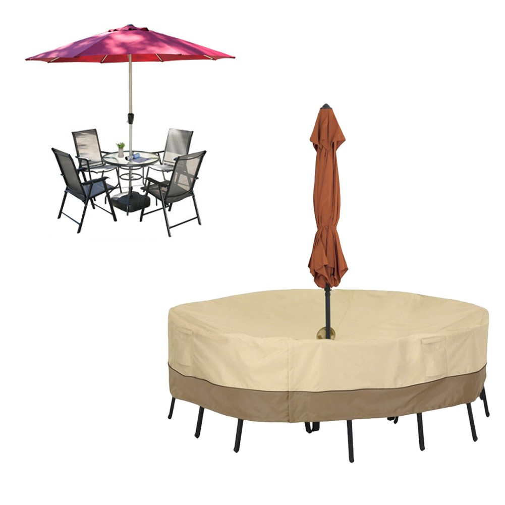 round table chair set cover with umbrella hole waterproof dust cover for outdoor furniture