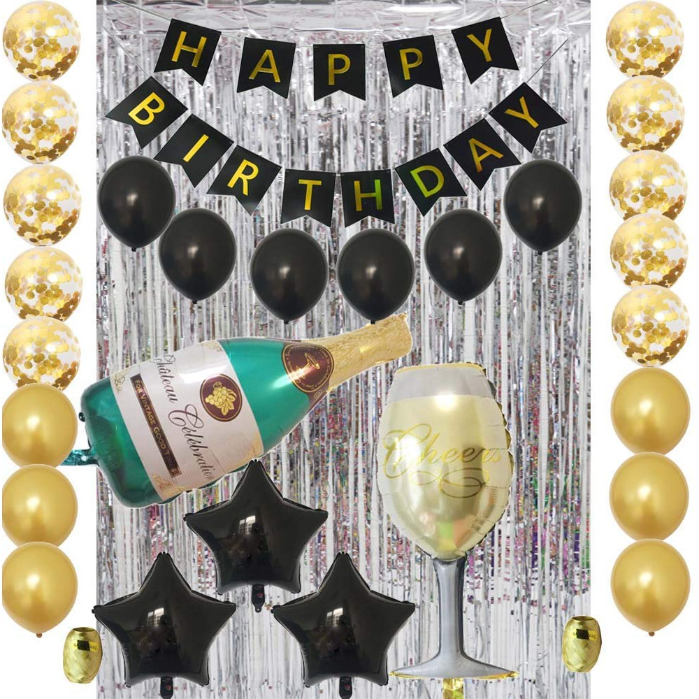 D73 Silver Black Gold Happy Birthday Party Decoration Kit Birthday Party Celebrations Balloons Shopee Philippines