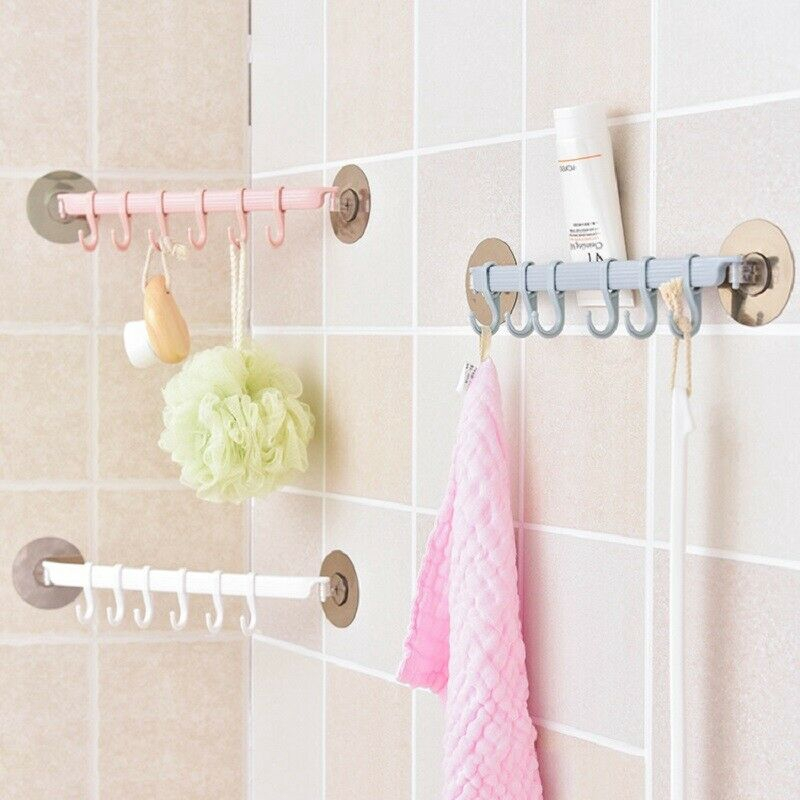 bathroom suction cup towel rack adhesive hook heavy duty 6 hooks wall mounted hanging holder