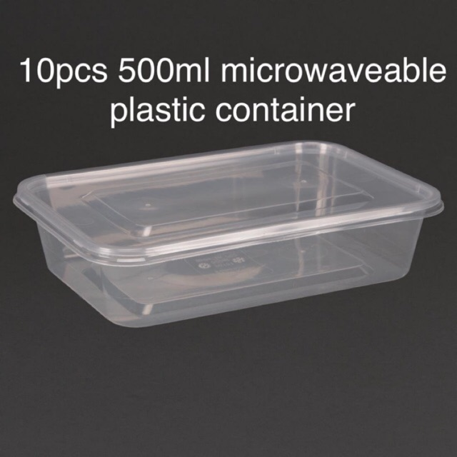10pcs 500ml microwaveable plastic container