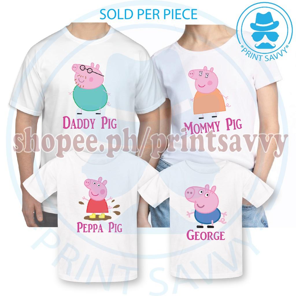 Family Shirt Peppa Caricature Matching Tees Custom Shirt Birthday Shirts Couple Shirts Shopee Philippines