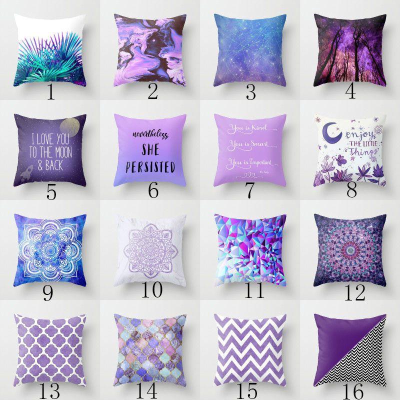 18 purple pillow case sofa waist throw cushion cover home decor geometric