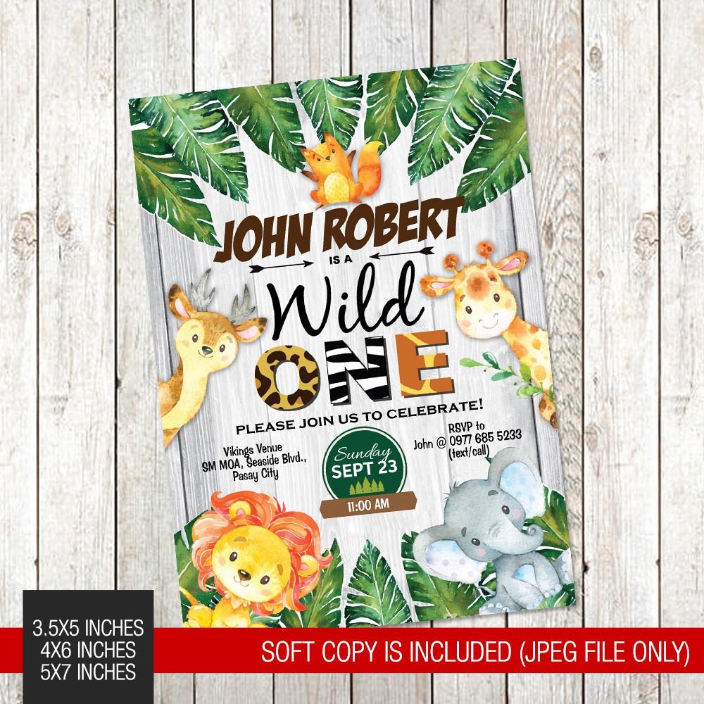 wild animals safari jungle themed printed 1st birthday invitation 078