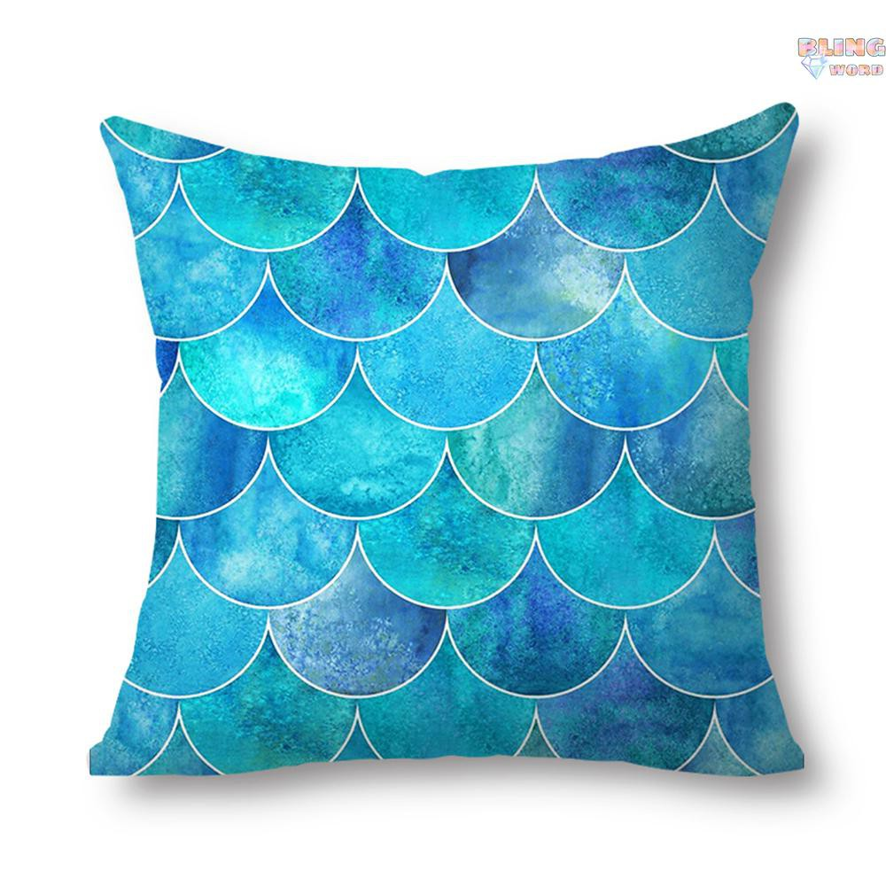 blingword mermaid decorative throw pillow covers 20x20 inch cotton pillowcase ocean theme for kids girls sofa bedroom style f
