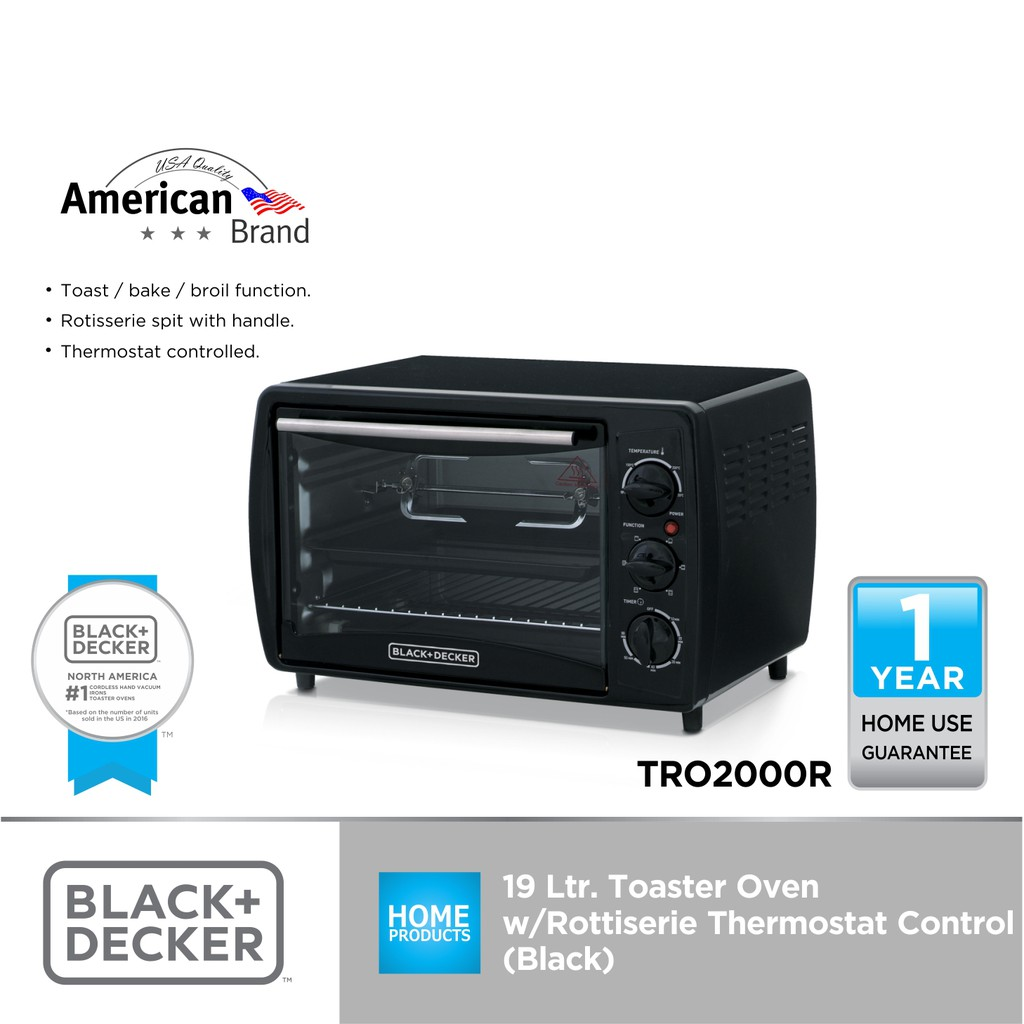 black decker 19l oven toaster rottiserie with thermostat controlled black
