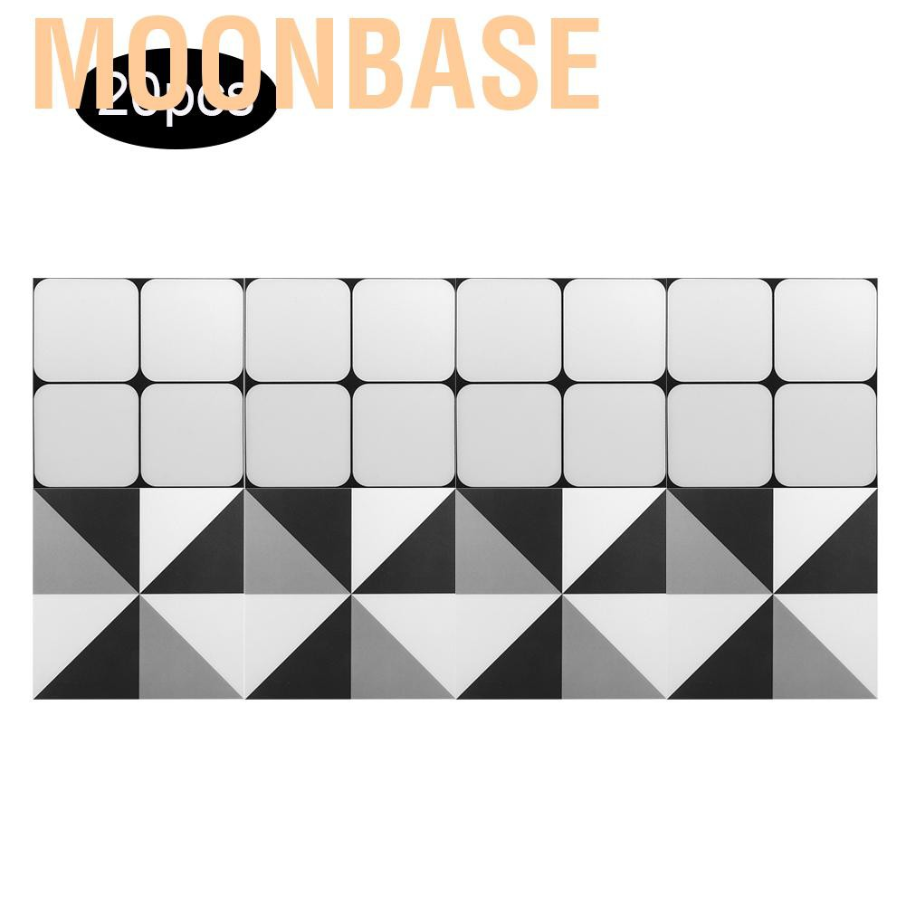 moonbase self adhesive wall tile decals 20pcs set 8x8 kitchen bathroom waterproof non slip tiles floor sticker decoration for