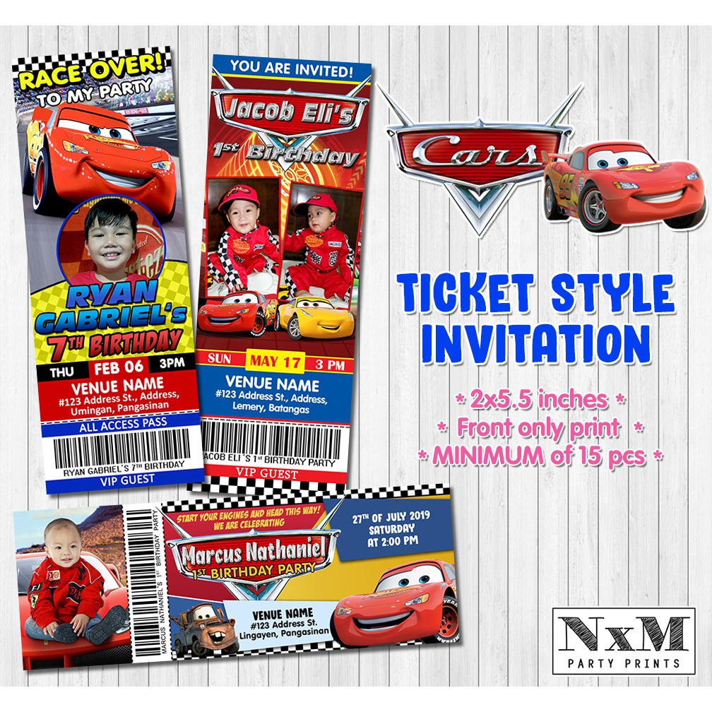 disney cars ticket style invitation card lightning mcqueen