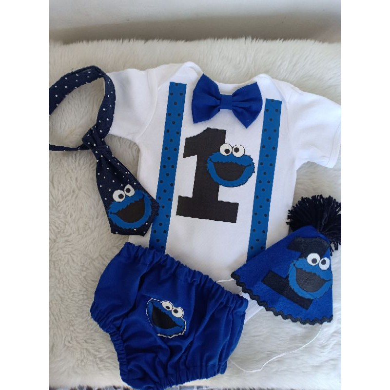 Cookie Monster Baby Boy 1st Bday Outfit Shopee Philippines