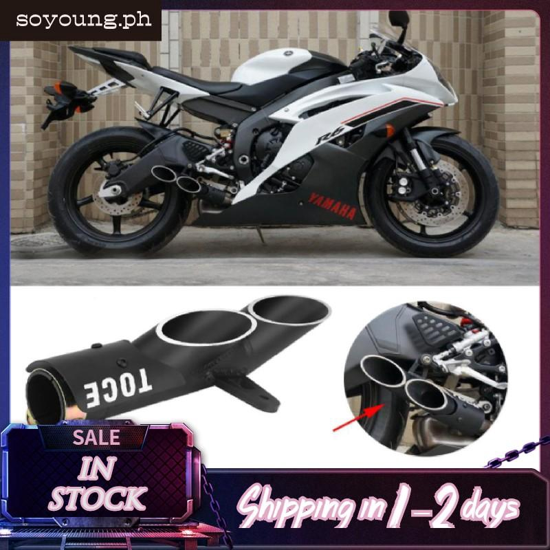 motorcycle dual outlet exhaust tail pipe muffler tailpipe