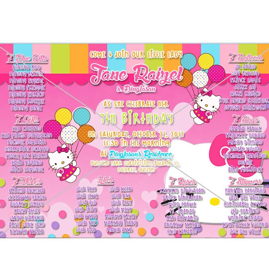 hello kitty themed invitation