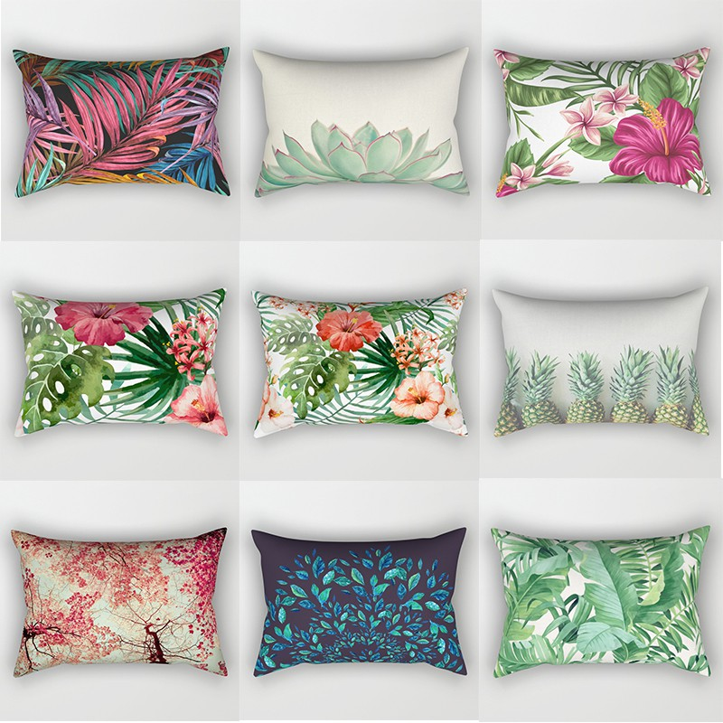 high quality tropical plants and flowers and pineapple pillow cover rectangle small pillow cases size 50cm by 30cm