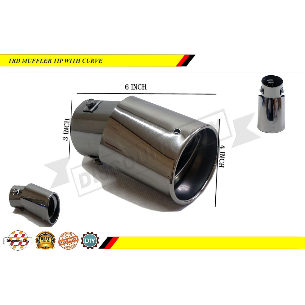 trd universal muffler tip smoke black 3 0 with curve special fit for toyota fortuner hilux