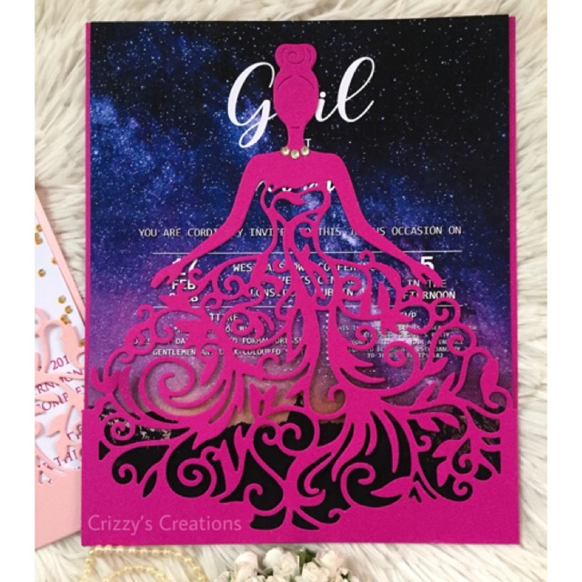 bella debut birthday die cut invitation card