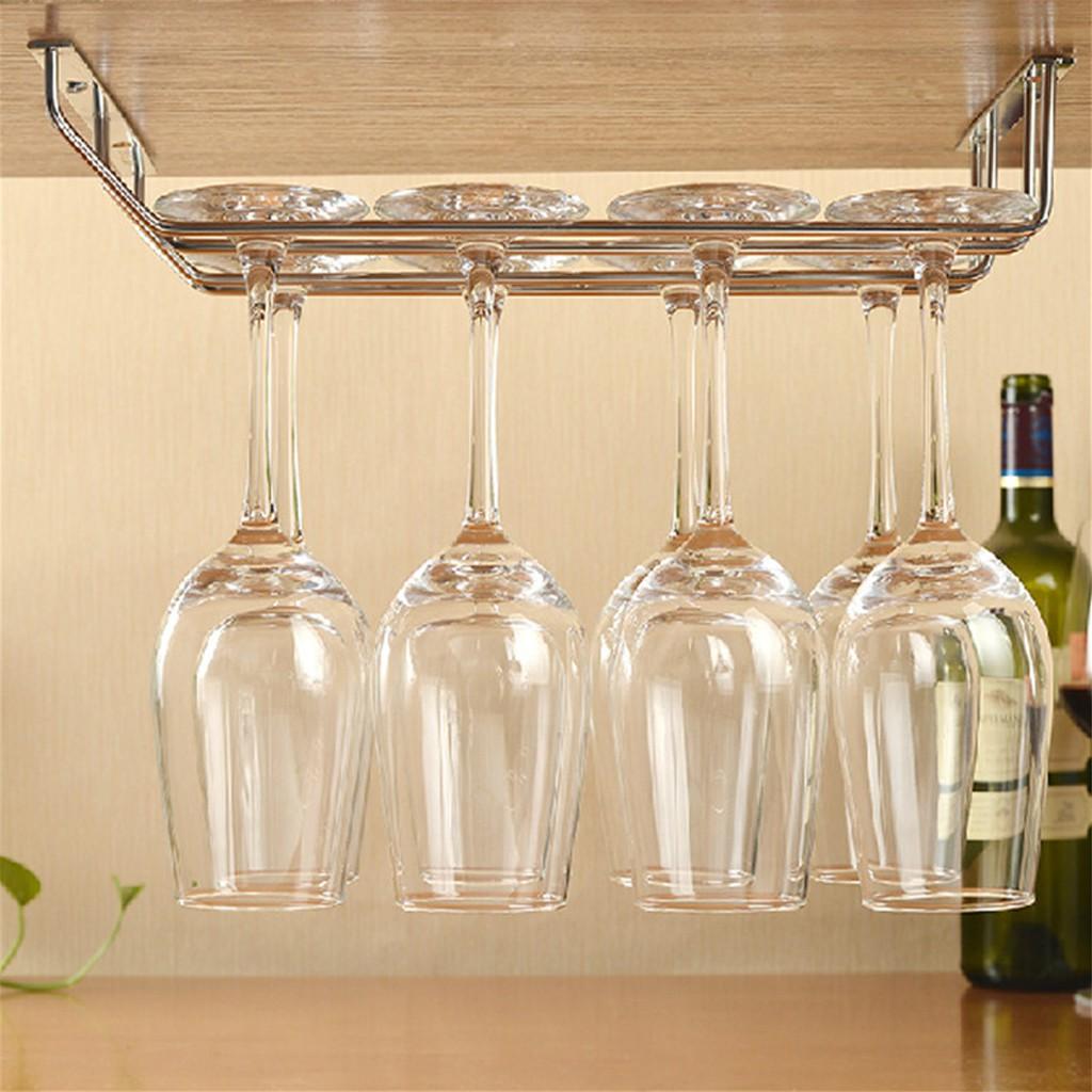 wine glass rack holder under cabinet stemware hanger shelf bar stainless steel