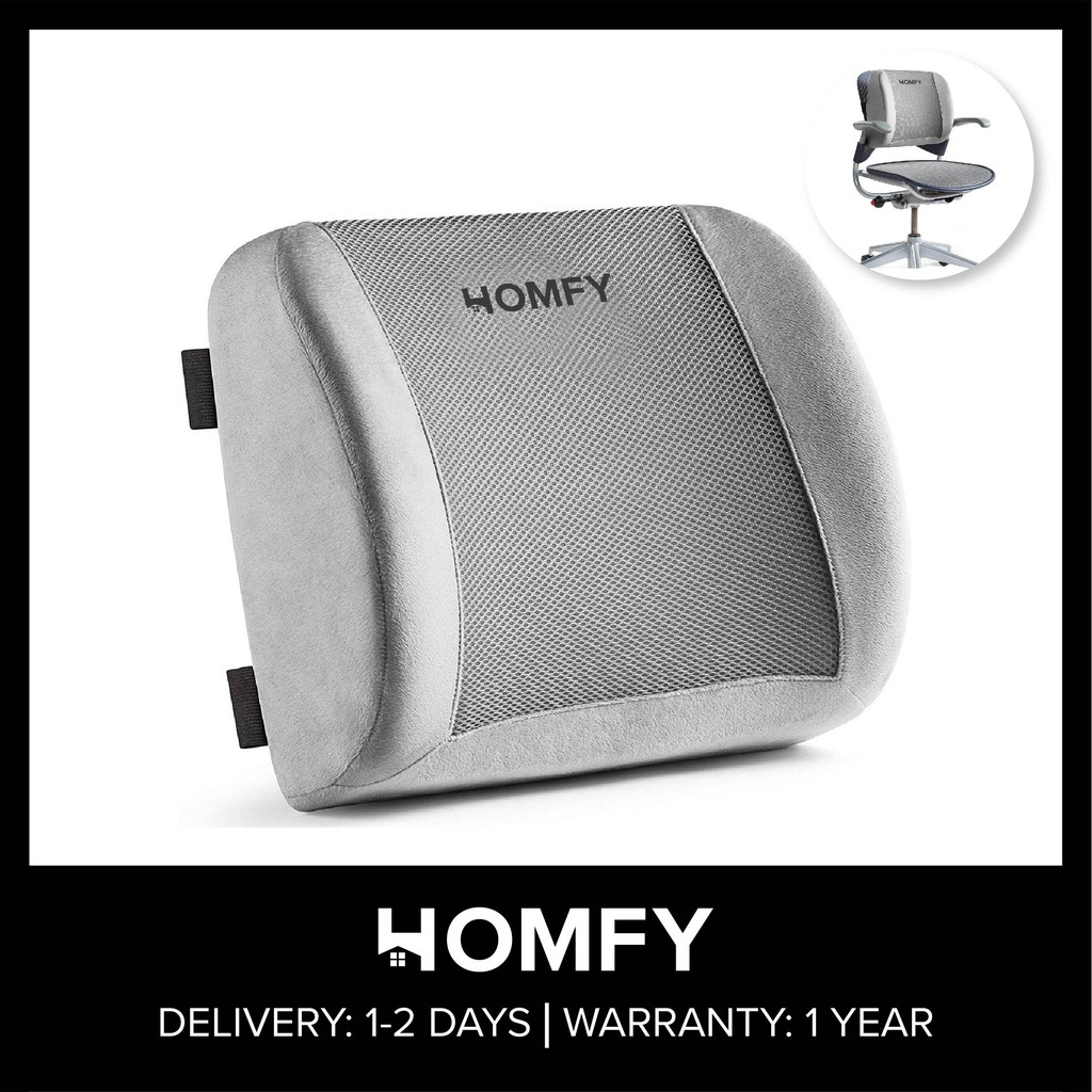 homfy lumbar support back pillow office chair and car seat cushion memory foam with adjustable strap and breathable 3d