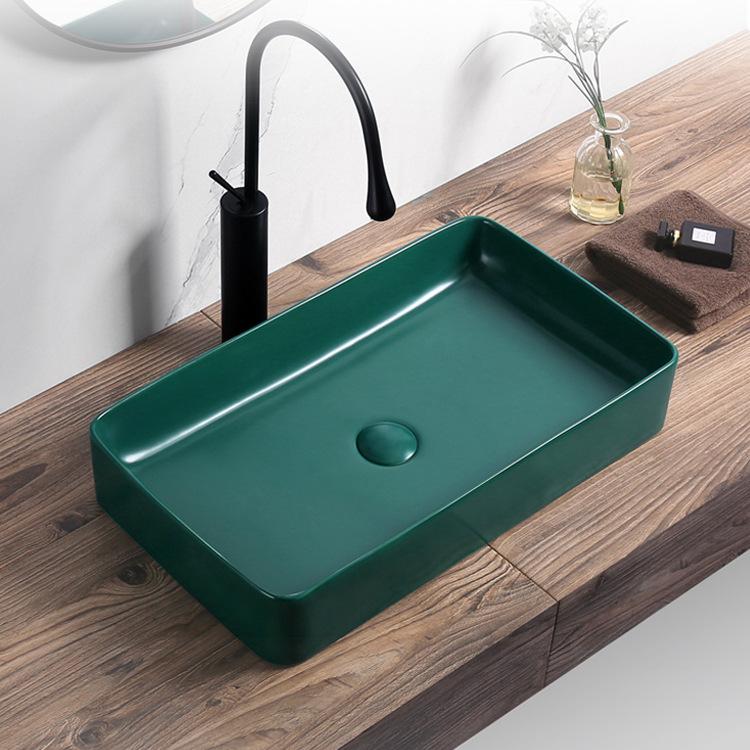 rectangular ceramic bathroom vessel sink green above counter vanity porcelain countertop sink