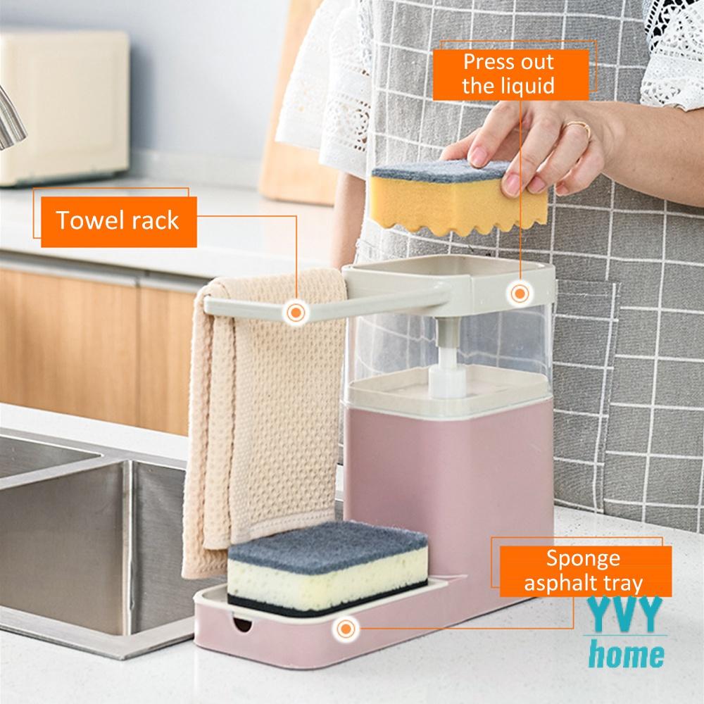 kitchen sink organizer multifunctional automatic liquid detergent dispenser sink towel holder rack household cleaning tools