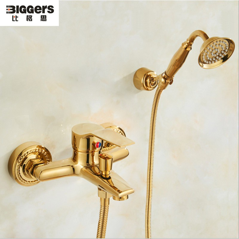 biggers gold color brass bathroom shower set bathtub faucet with shower head shower hose
