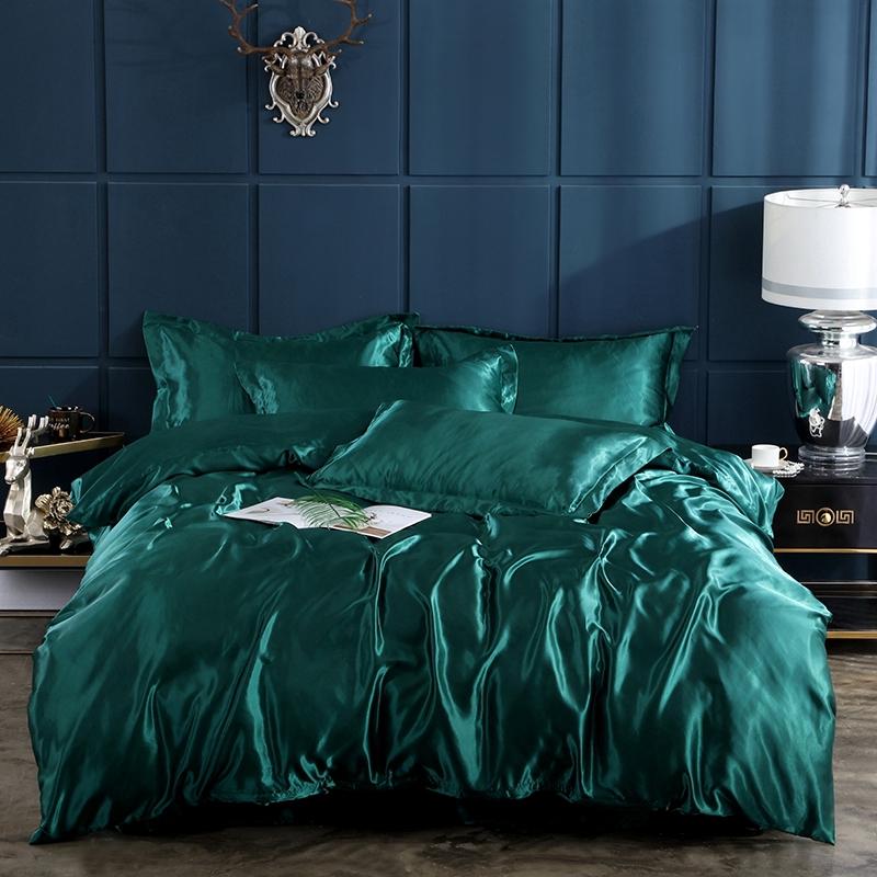 100 silk summer 4pcs smooth luxury emerald green bedding set bedsheet flat fitted comforter duvet quilt cover pillowcase set